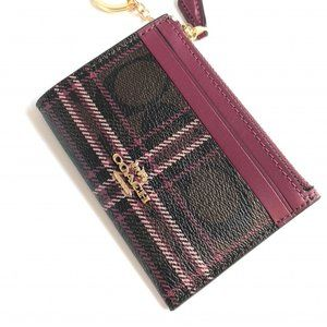 COACH Skinny ID Case Signature Plaid Pink